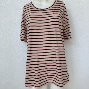 Splendid Split Neck Striped T Shirt Top NWT Medium